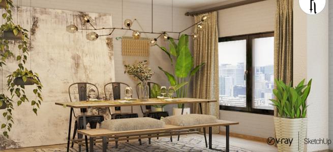 Minimal Dining Room | Speed Modeling | Sketchup & VRay Next